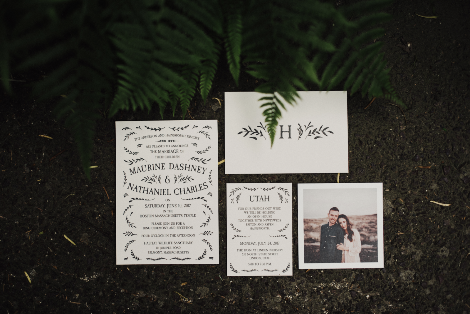 letterpress wedding invitation suite