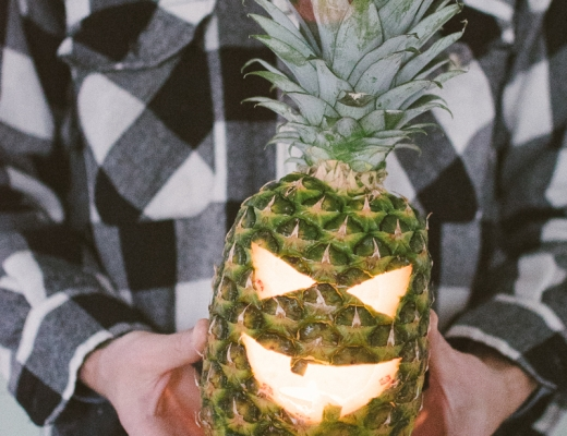 carved halloween pineapple