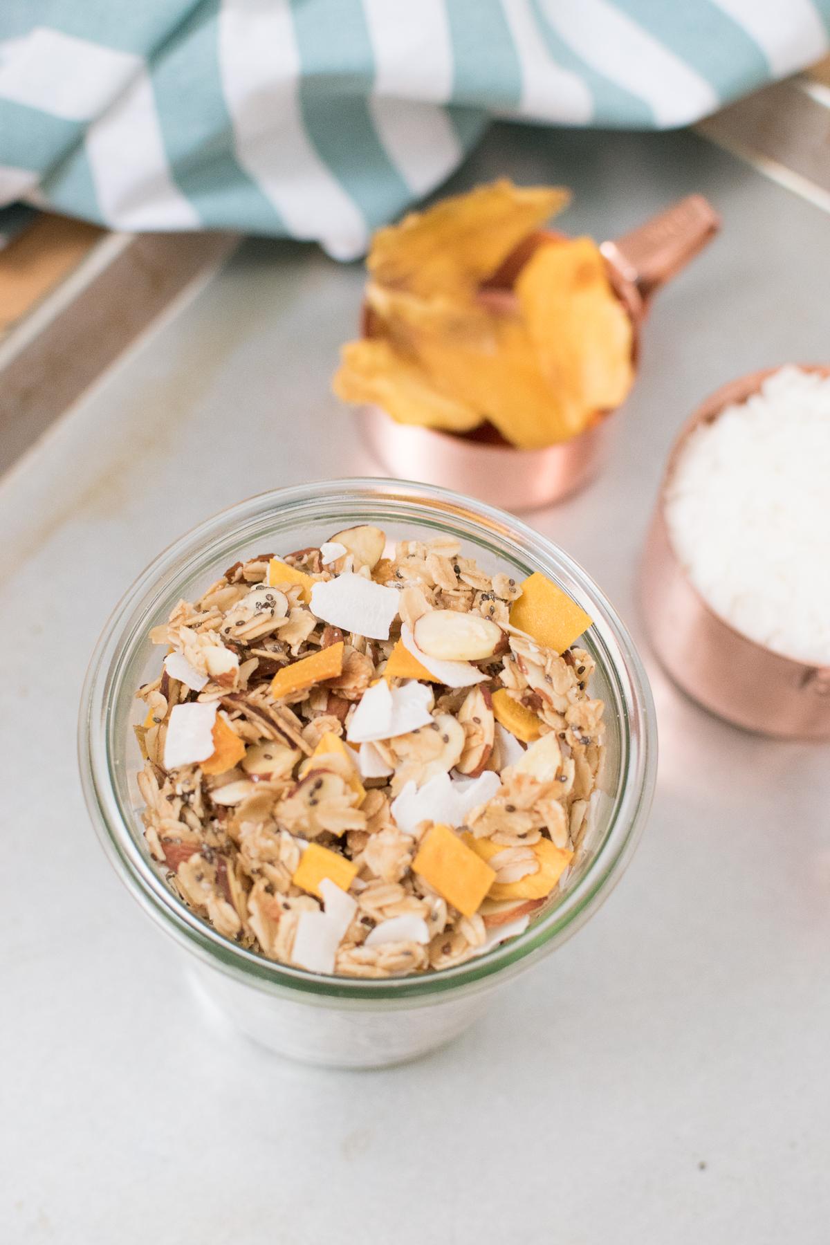 coconut mango chia granola